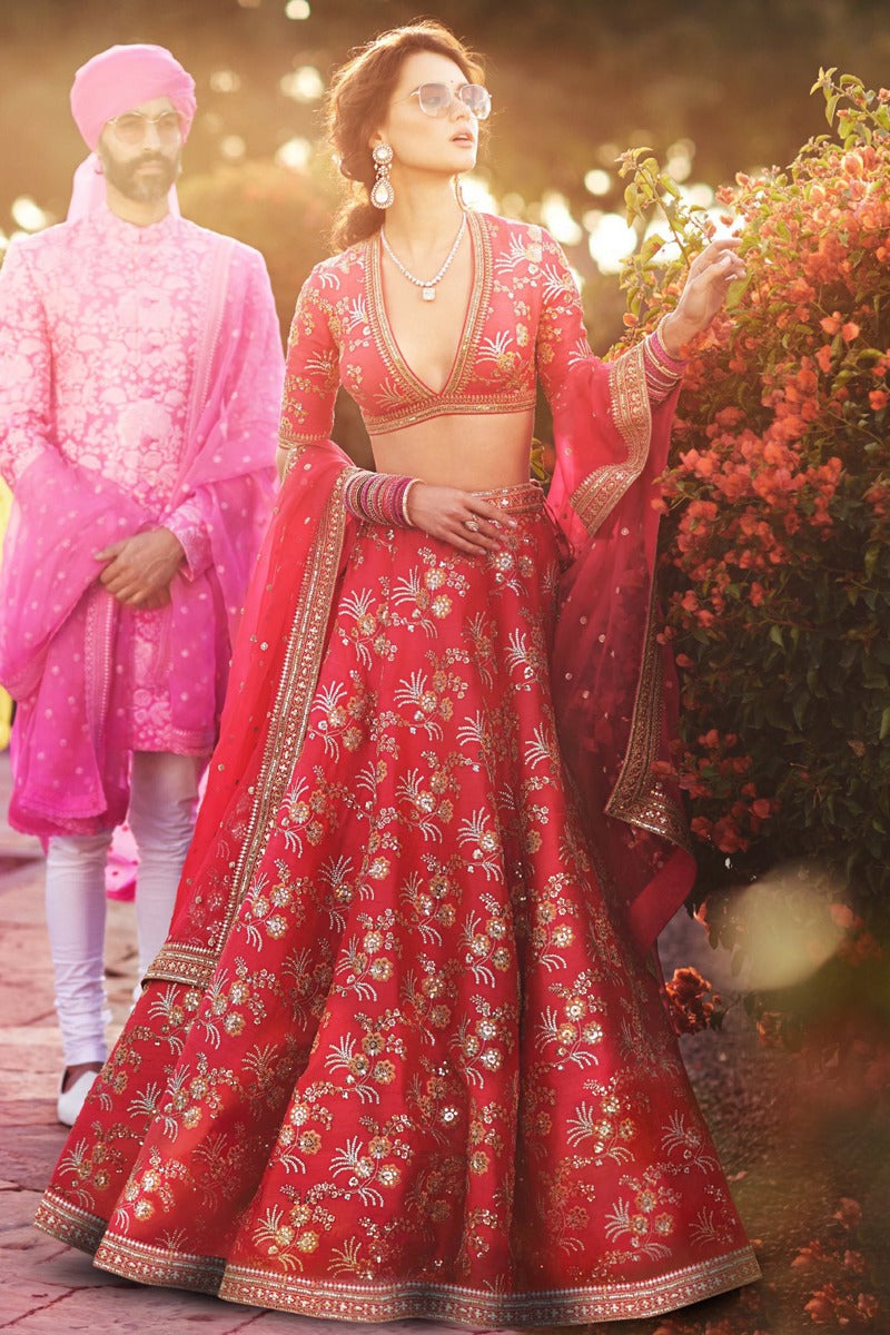 Red Thai Silk  Latest Lehenga Choli Designs For Wedding With Price