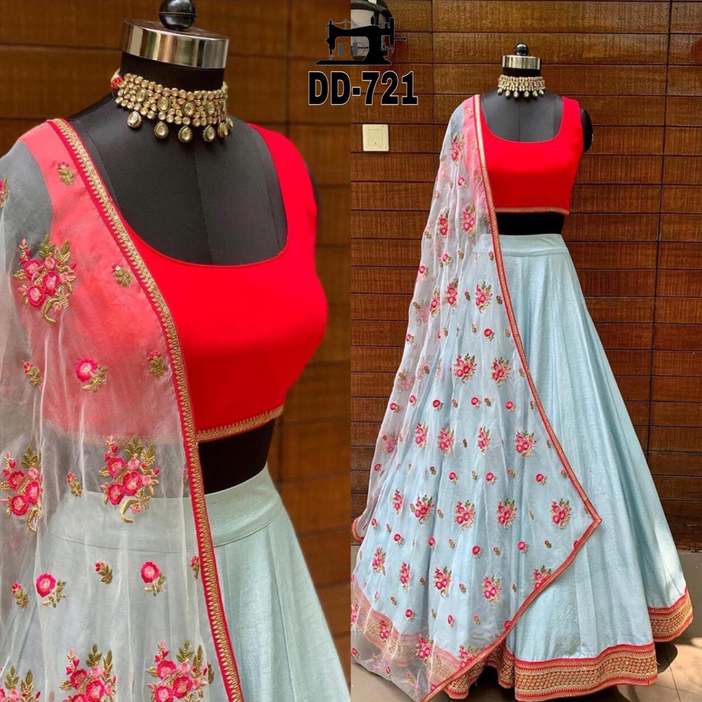 Powder Blue Taffeta Silk Simple Lehenga Designs India Onine
