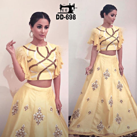 Light Yellow Silk Embroidered Latest Lehenga Choli Designs Online