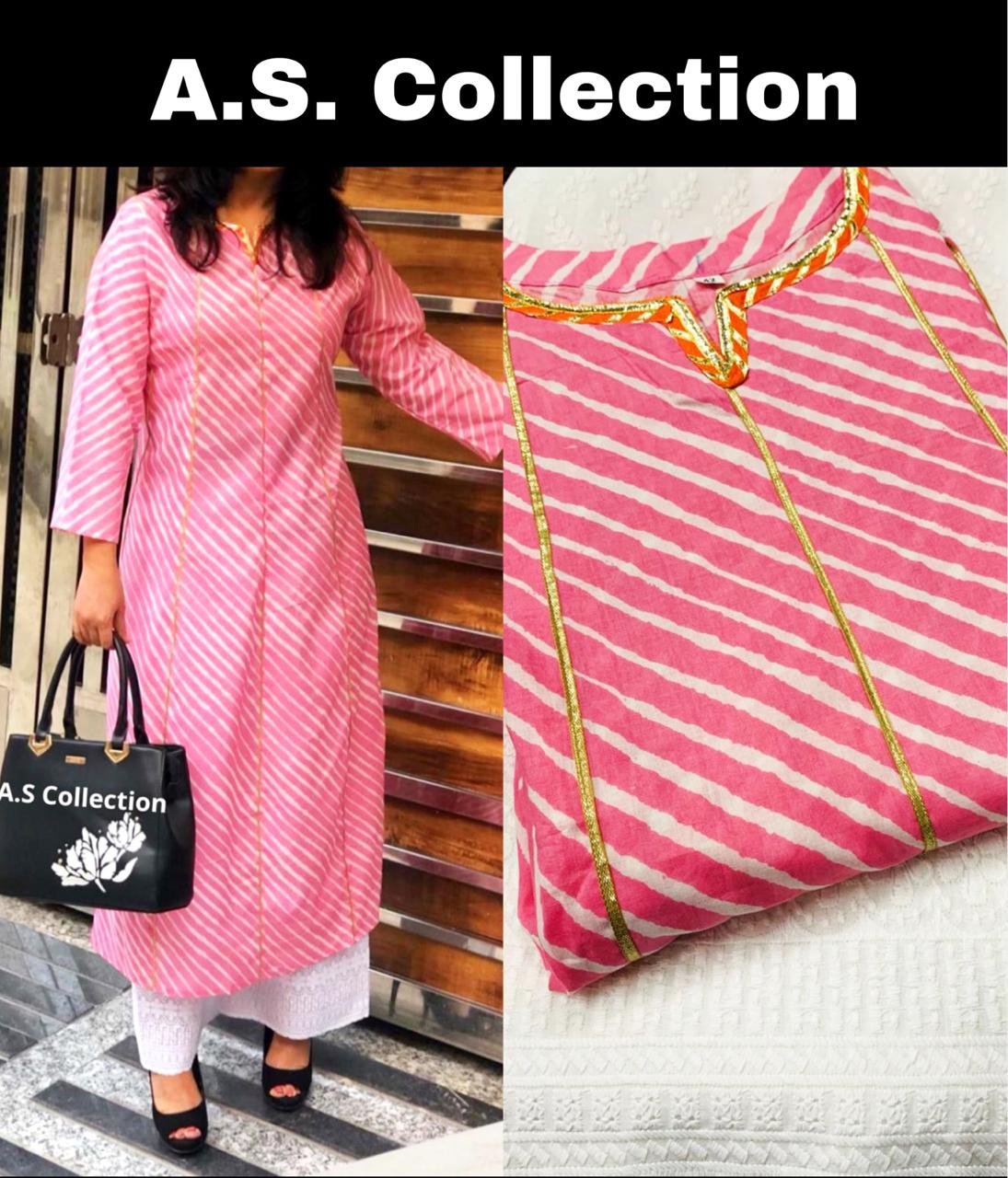 Light Pink Stripes Pattern Screen Print Cotton Kurtis Set Online