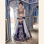 Navy Blue Banarasi Silk Embroidered Wedding Dresses Indian Lehenga