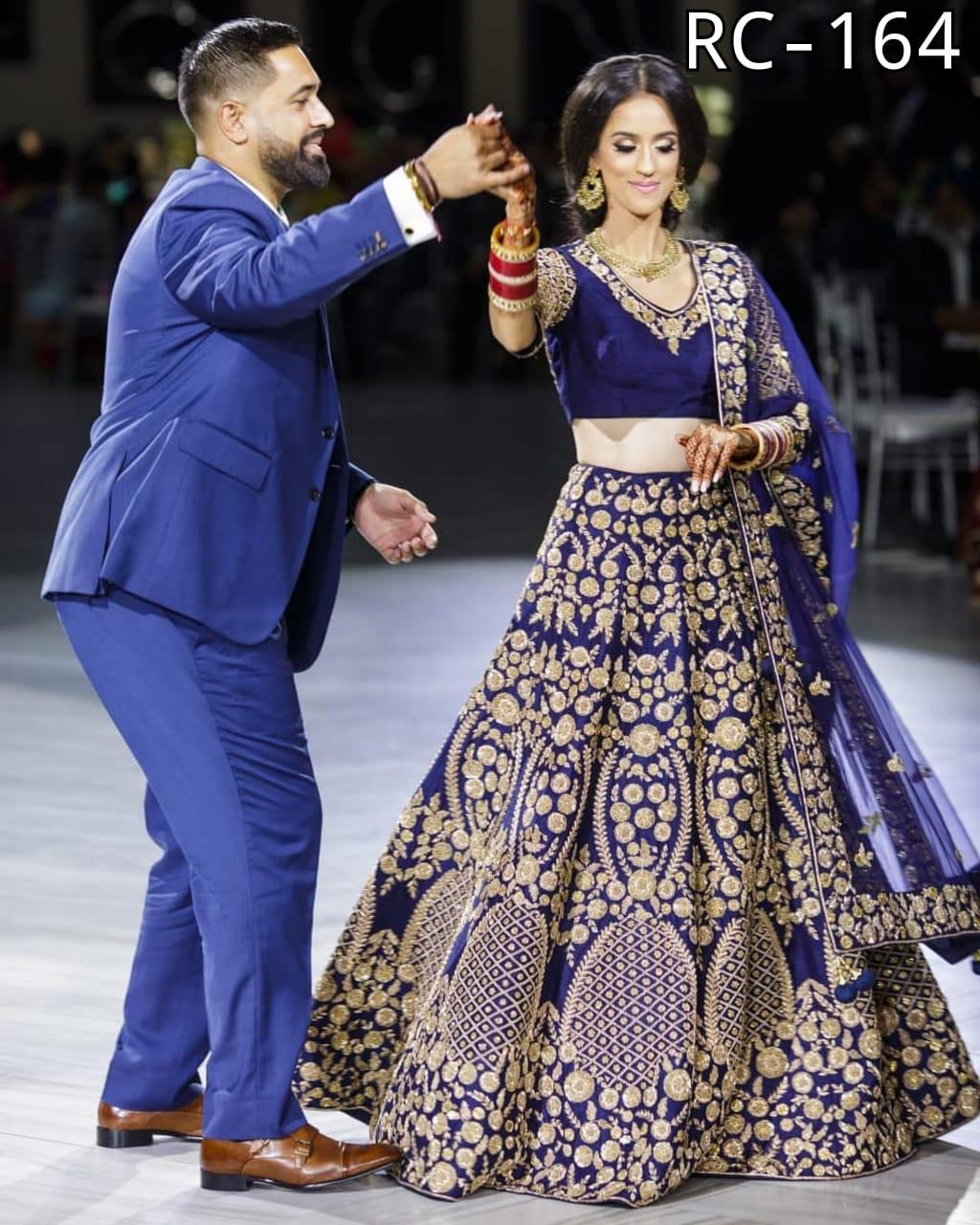 Navy Blue Taffeta Silk Lehenga Choli Designs For Wedding With Price