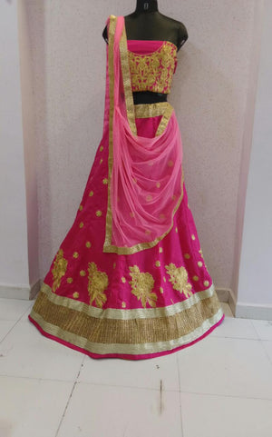 Pink Bangalore Silk Bollywood Lenghacholi ,Indian Dresses - 2