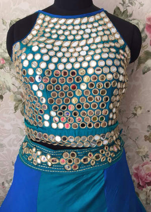 Blue Two Tone Crop Top Skirt Indian Latest Fashion