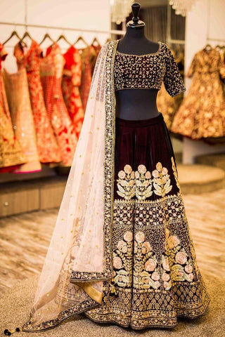 Maroon Velvet Silk Embroidered Beautiful Indian Lehenga Cholis Online Buy