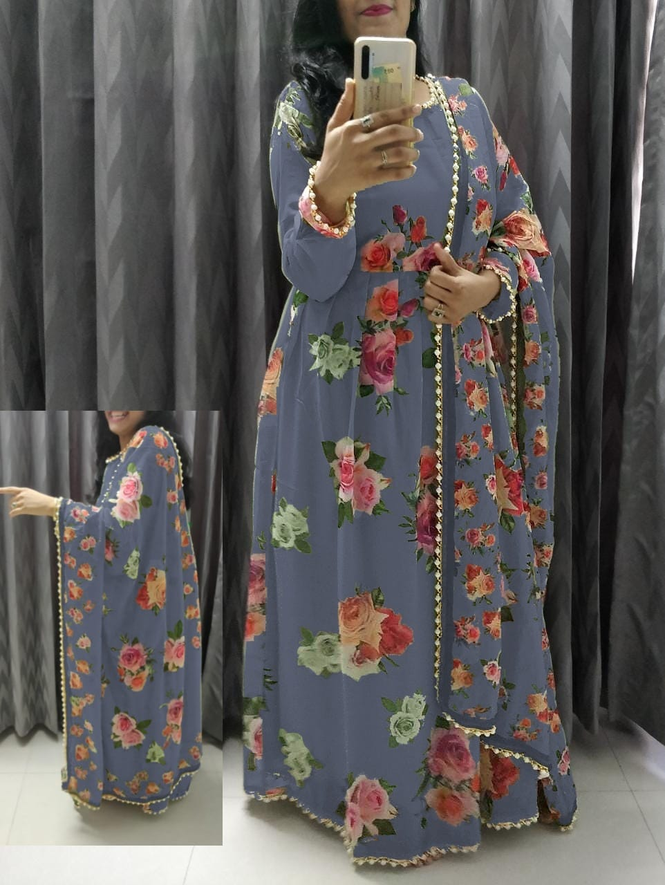 Grey Georgette Floral Print Gown Style Indian Suits Online