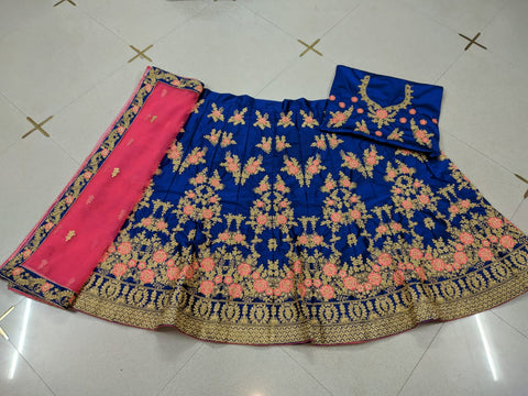 Blue Embroidered Silk Lehenga Choli Latest Designs Online Buy