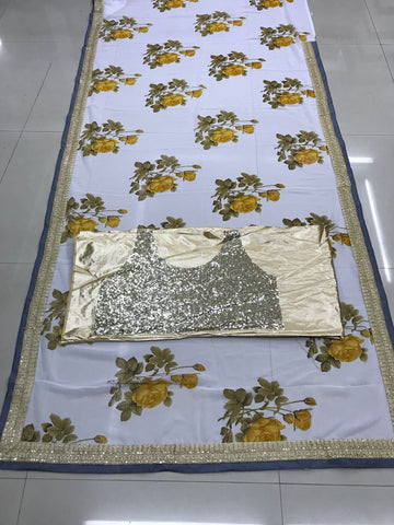 Buy Ladies Floral Printed Party Wear Sarees With Low Price