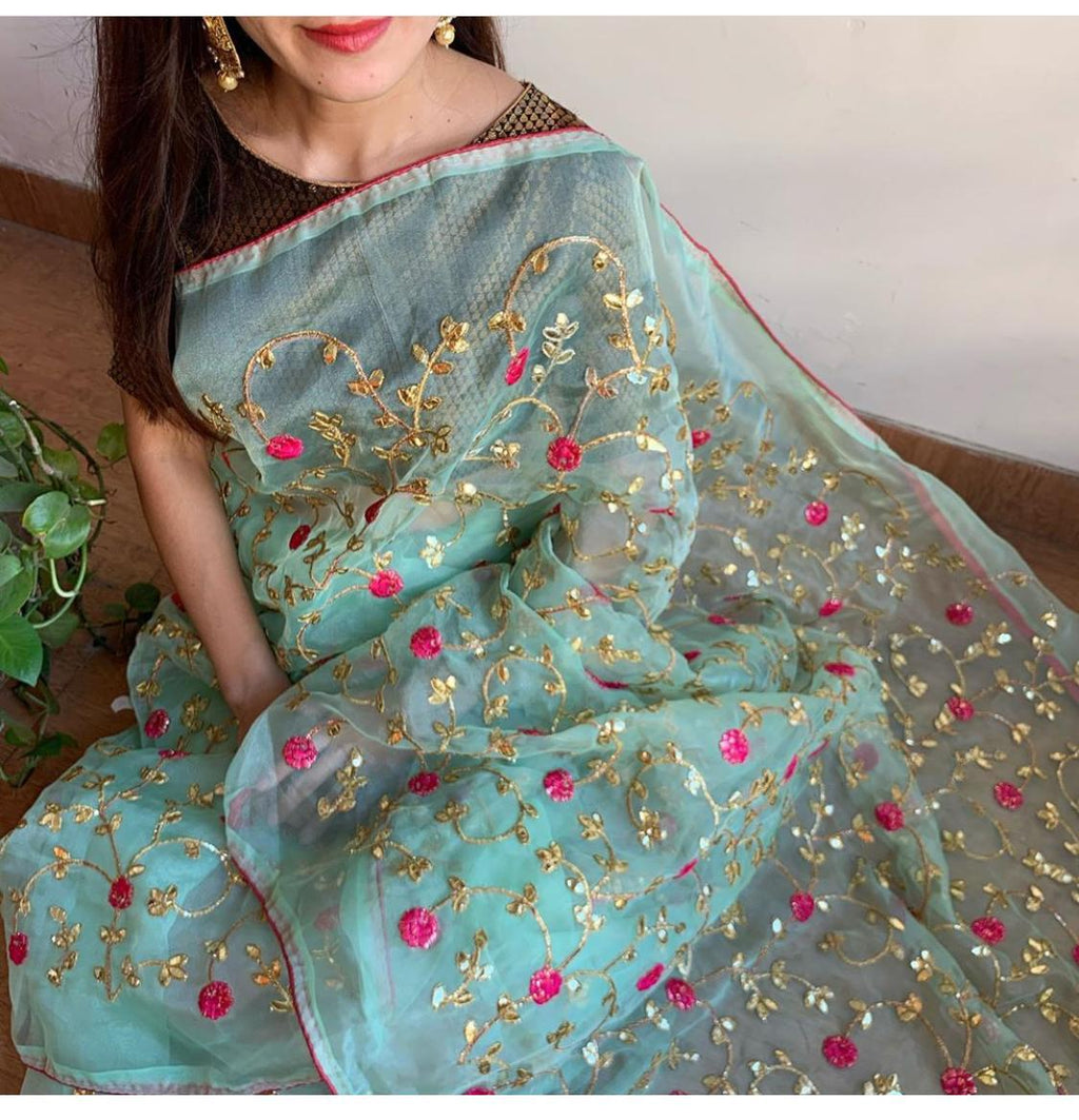 Aqua Green Pure Organza Beautiful Sarees Online Shopping