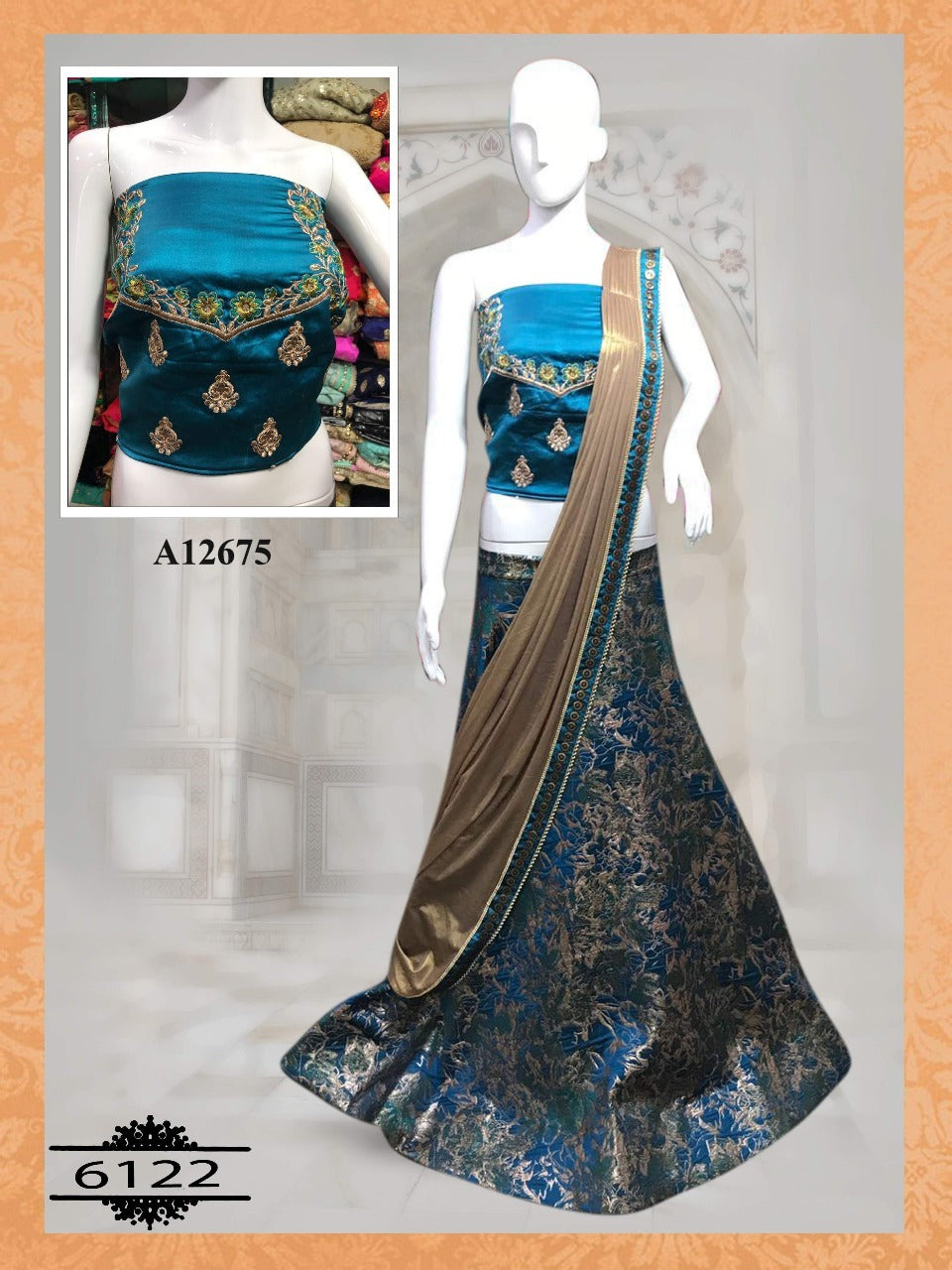 Blue And Taupe Color Silk Latest Designer Party Wear Lehenga