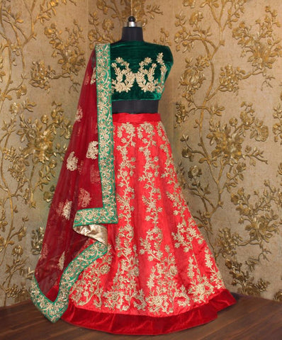 Red And Green Designer Bollywood Lehenga Designs ,Indian Dresses - 2