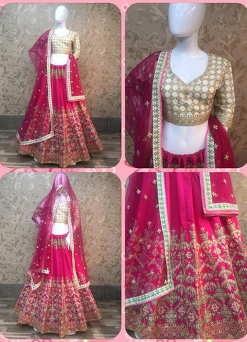 Pink Banarasi Silk Embroidery Party Wear Latest Design Of Ghagra Choli