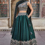 Lovely Green Silk Embroidered New Latest Lehenga Choli
