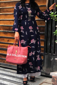 Navy Blue Printed Women''s Lucknowi Long Kurtas Online