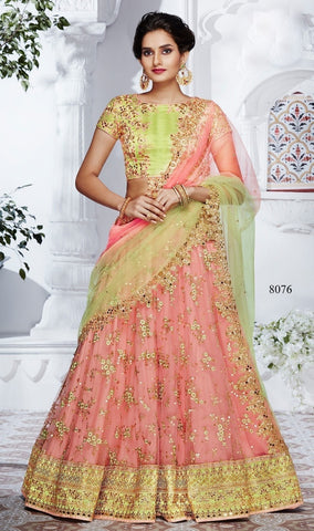 Charming Light Peach Pink Net Lehenga Indian Women Wedding Attire