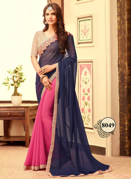 Navy Blue And Pink Georgette Bollywood Fashion Online