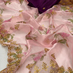 Pastel Pink Printed Soft Organza Online Shopping For Fancy Sarees
