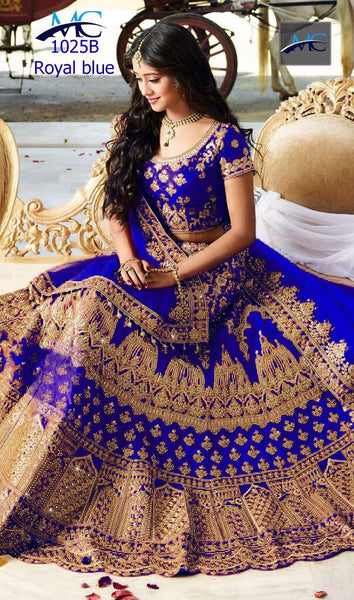 Embroidered  Blue Kerala Silk Indian Wedding Ghagra Choli India Online
