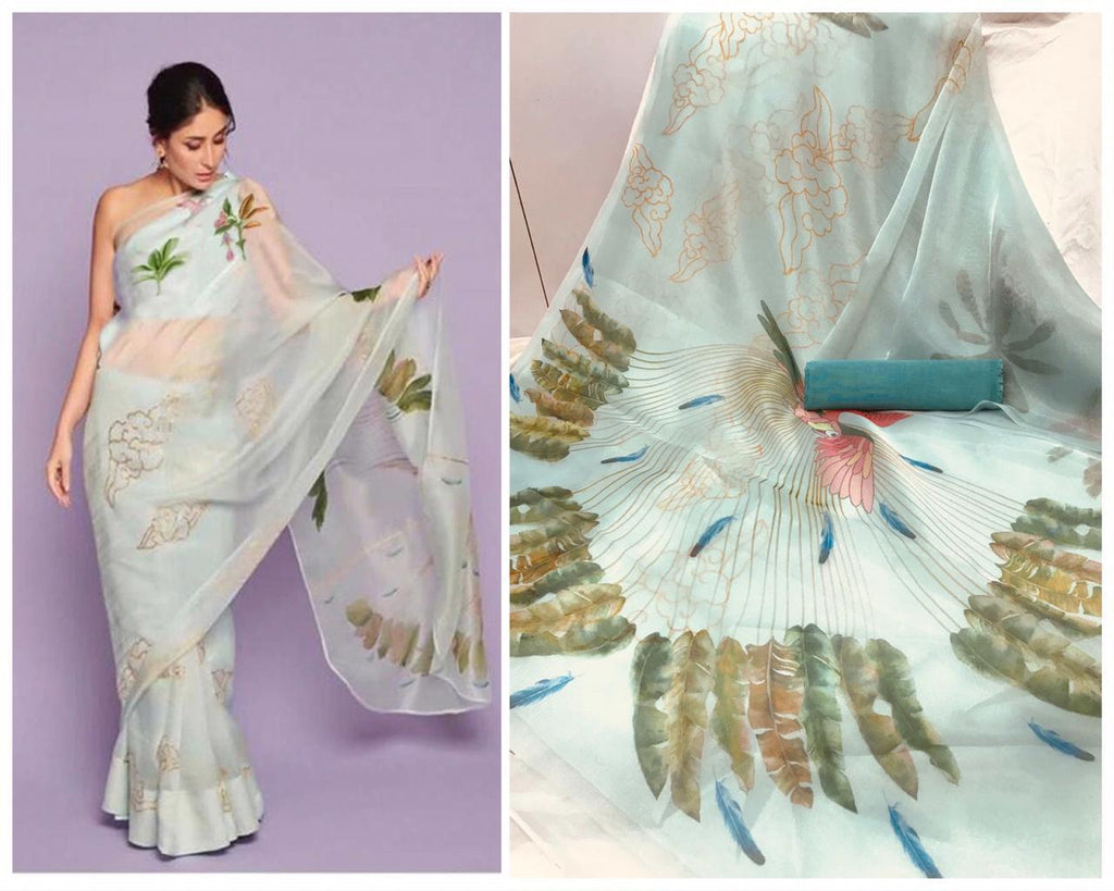 Kareena Light Green Digital Printed Latest Organza Saree and Blouse Set