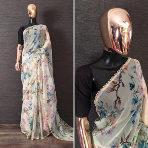 Light Cream Pearl Lace Floral Print Fancy Saree Online Shopping
