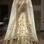 White  Malai Satin  Embroidered Beautiful Indian Wedding Lehengas