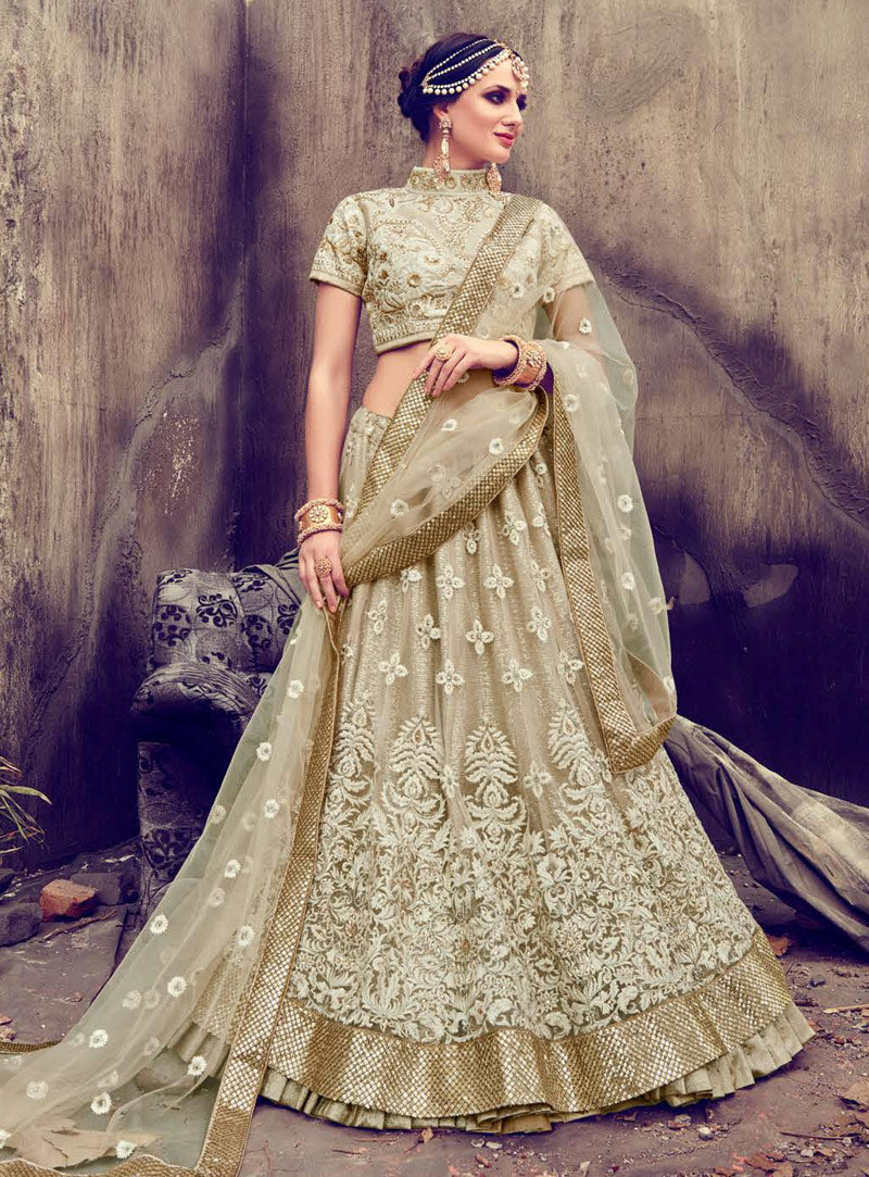 Beige Georgette Net Latest Lehenga Designs For Wedding