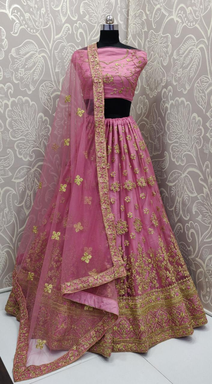 Embroidered Pink Net Party Wear Ladies Lehenga Choli With Price