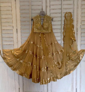 Dark Beige Online Fashionable Party wear Lehenga Choli Shopping India