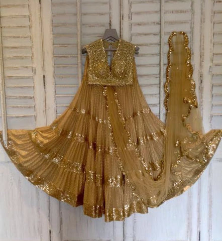 Beige Chanderi Online Lehenga Shopping India