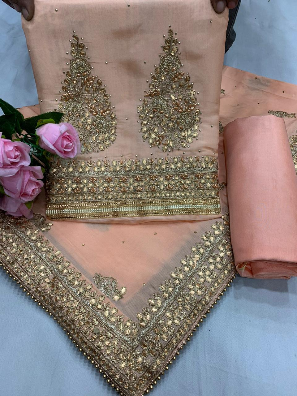 Silk Gota Pure Chinon Beautiful Punjabi Salwar Suit Online Shopping