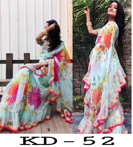 Pastel Blue Floral Print Latest Indian Ruffle Saree Designs Online