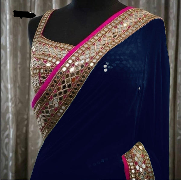 Navy Blue Georgette Mirror Work New Bollywood Fashion Sarees