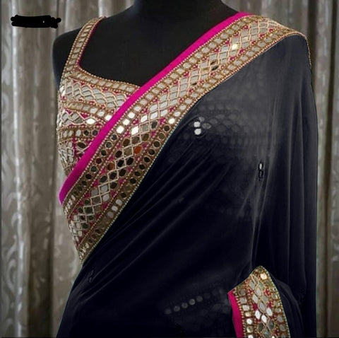 Black Georgette Mirror Work Party Wear Fashionable Sarees Images