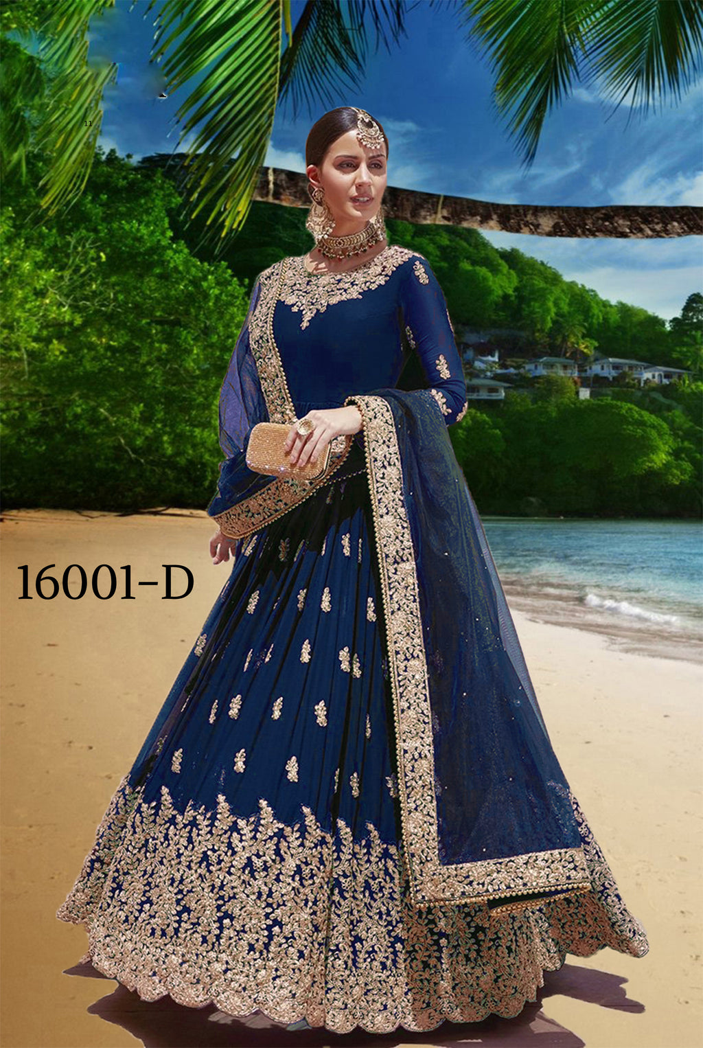 Blue Embroidered Georgette Anarkali Latest Fashion In Salwar Kameez