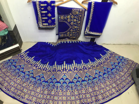 Royal Blue Silk Lehenga Choli Indian Wedding Collection For Bride
