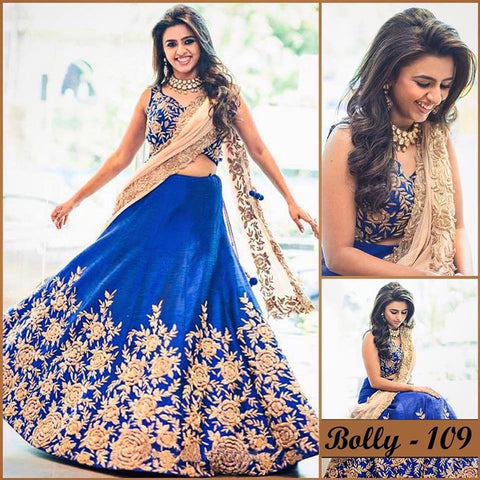 Royal Blue Bollywood Wedding Lenghas ,Indian Dresses - 1