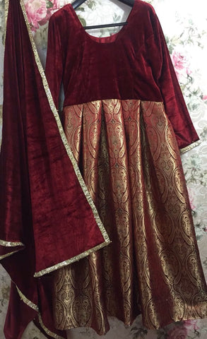 Brocade Velvet Maroon Bollywood Indian Kameez Salwar ,Indian Dresses - 2