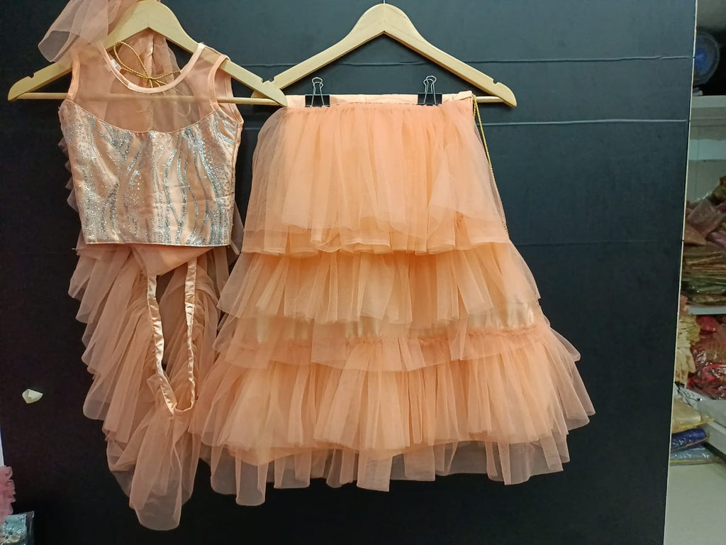 Peach Layered Kids Lehenga Blouse With Dupatta