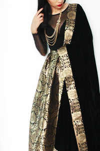 Gold and Black Brocade Lehenga Choli Online Shopping