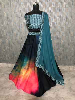 Tie Dye Design Crepe Silk Latest Indian Lehenga Blouse Online