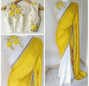 Yellow And White Half And Half Georgette Bollywood Sari ,Indian Dresses - 1