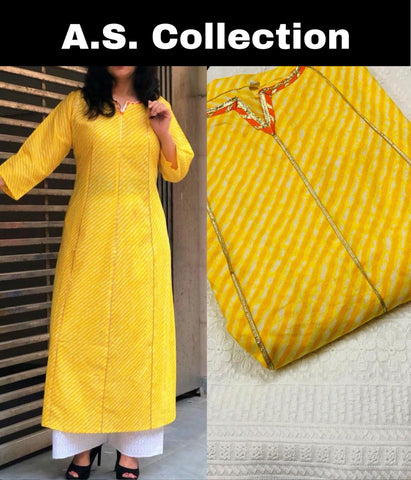 Yellow Cotton Stripe Pattern Ethnic Kurtis And Palazzo Suits Online