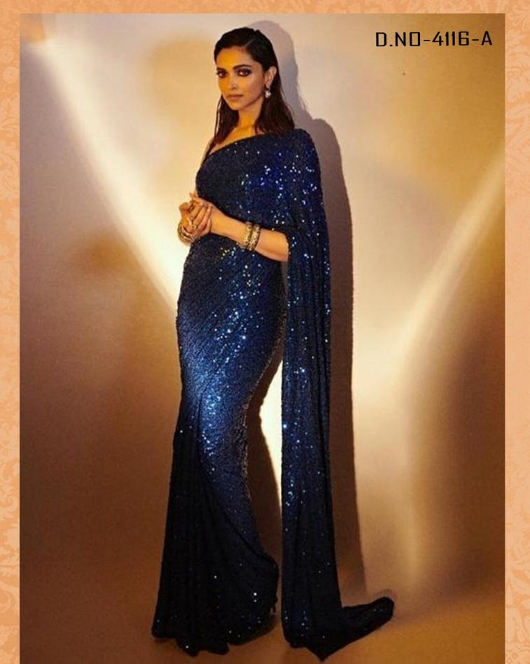 New Arrival High Quality Blue Georgette Sequins Fancy Ladies Sarees Buy Online