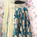 Green And Gold Semi Brocade Designer Lenghas Online ,Indian Dresses - 2