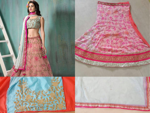 Pink And Firozi Gajri Print Indian Lehenga Online Shopping ,Indian Dresses - 2