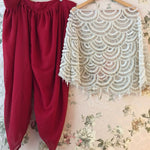 Maroon White Dhoti With Capelet Style Indian Dresses
