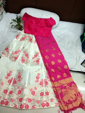Cream Pink Banarasi Brocade Ladies Lehenga Indian Dresses