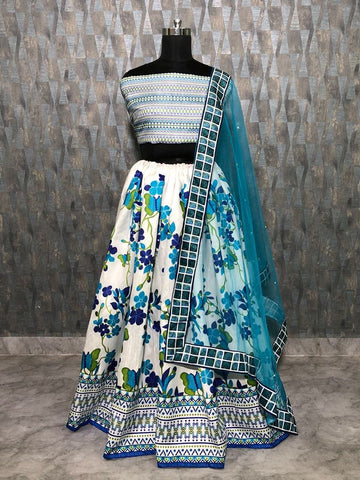 White And Blue Floral Printed Latest Designer Ghagra Choli