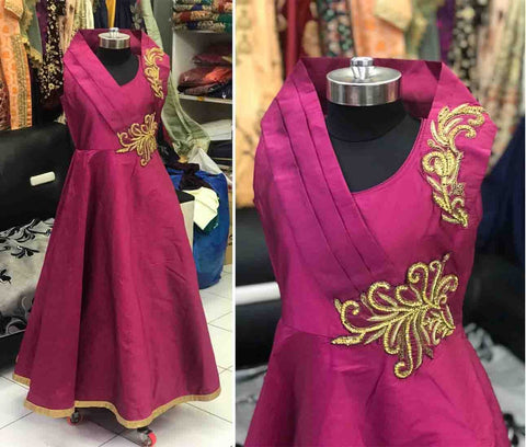 Magenta Silk Gown Indian Style Party Wear For Girls Online