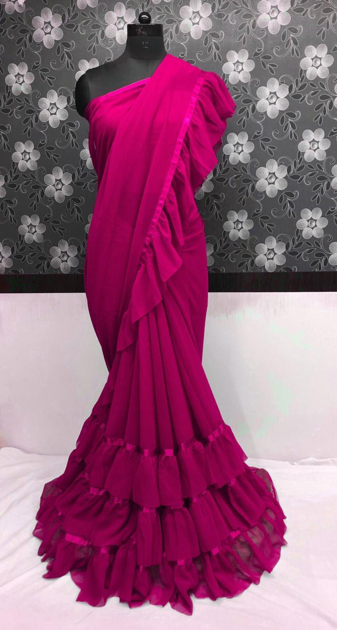 Dark Magenta Georgette Ruffled Party Wear Gorgeous Saree Online